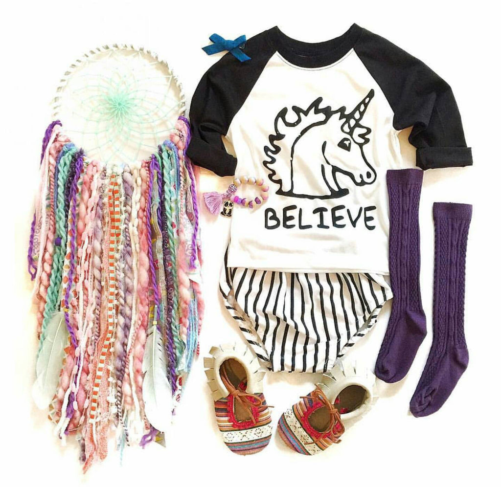 """Believe Unicorn"" Baby Toddler Raglan"