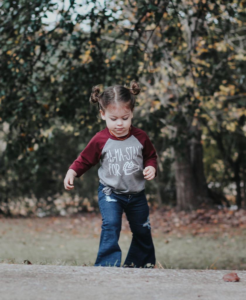 """Na Ma Stay For Pie"" Baby / Toddler Raglan Tee"