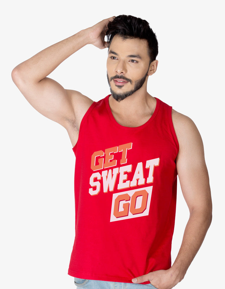 Get Sweat Go - Red Men's Gym Sleeveless Graphic Vest Model Front View