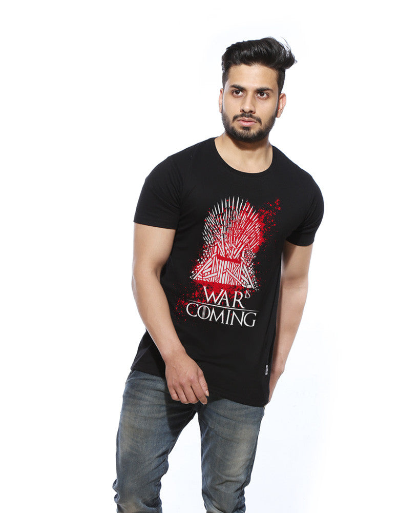 War is Coming - Black Trendy Half Sleeve Men's T shirt Model Front View