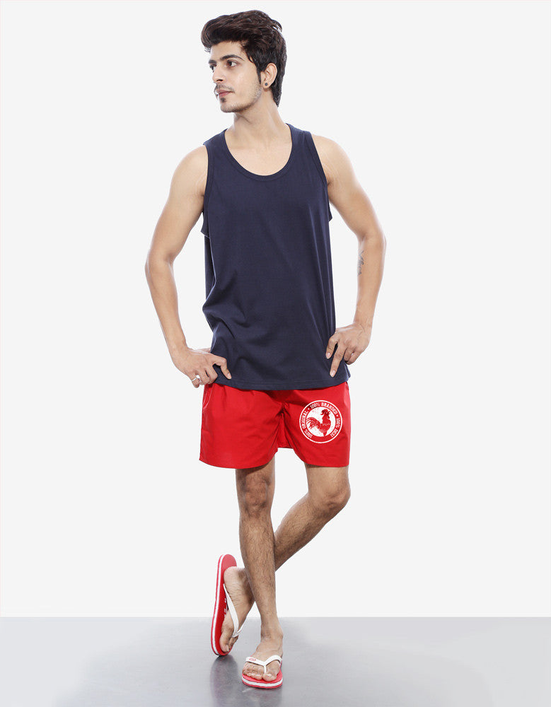 100% Desi - Red Men's Cool Boxer Short Model Full Front View