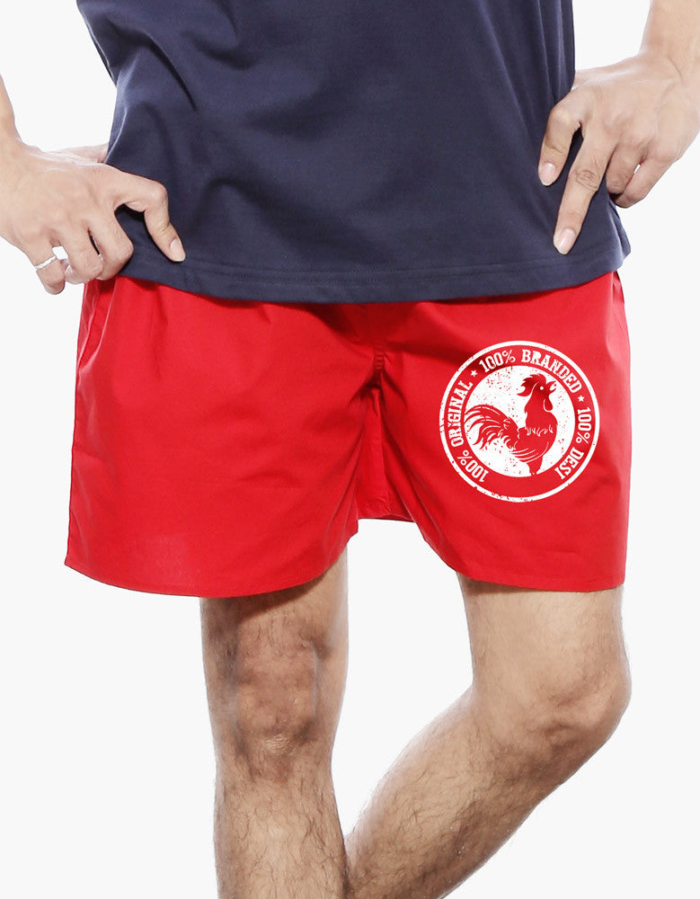 100% Desi - Red Men's Cool Boxer Short Model Front View