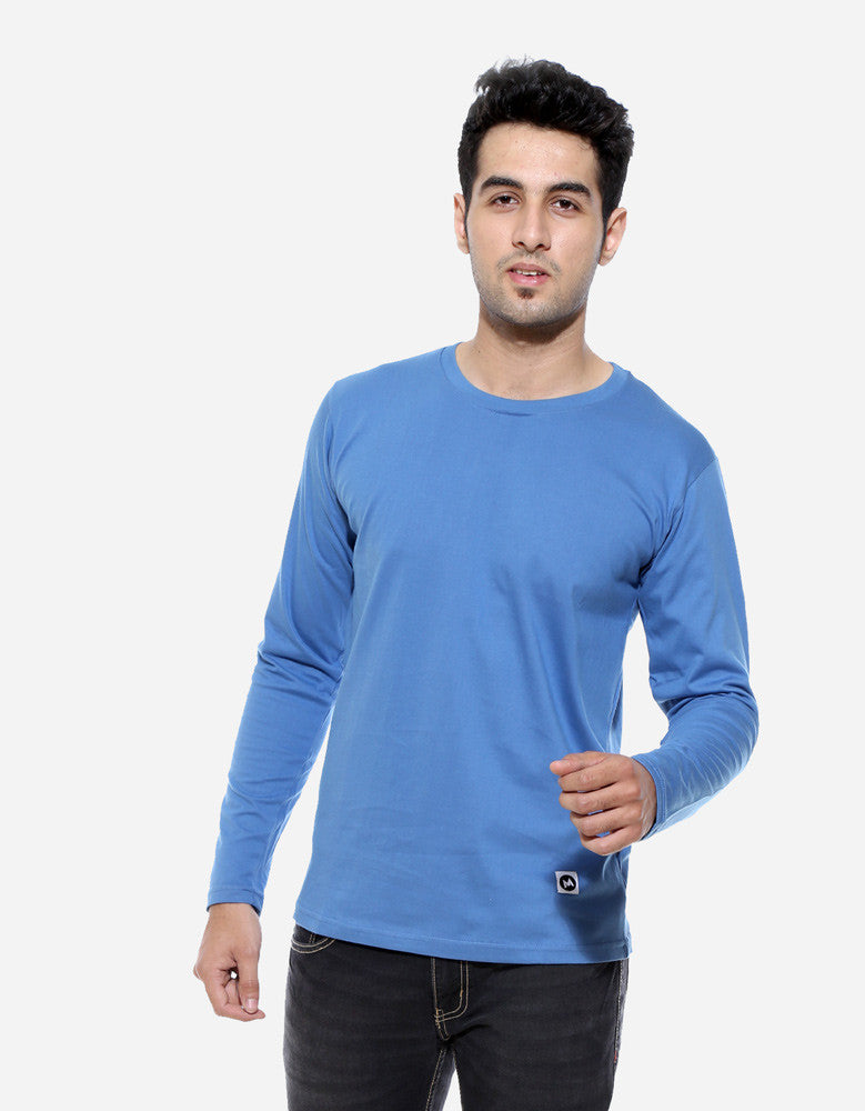 Dark Shadow Blue - Men's Plain Full Sleeve Casual T Shirt Model Front View