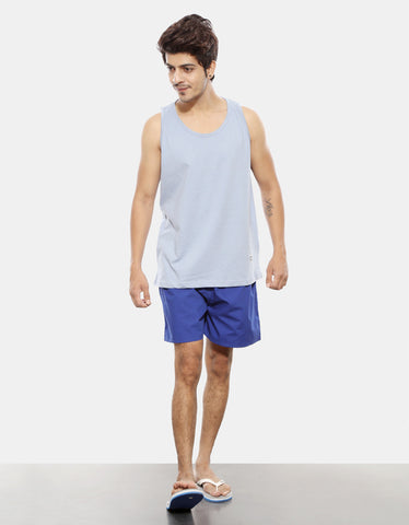 Royal Blue - Men's Plain Boxer Short Model Full Front View