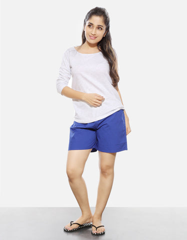 Royal Blue - Women's Plain Boxer Short Model Full Front View