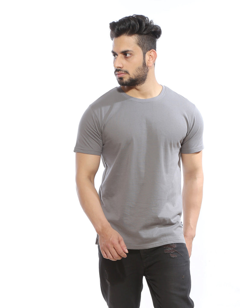 Cement Grey - Men's Plain Half Sleeve Casual T Shirt Model Front View