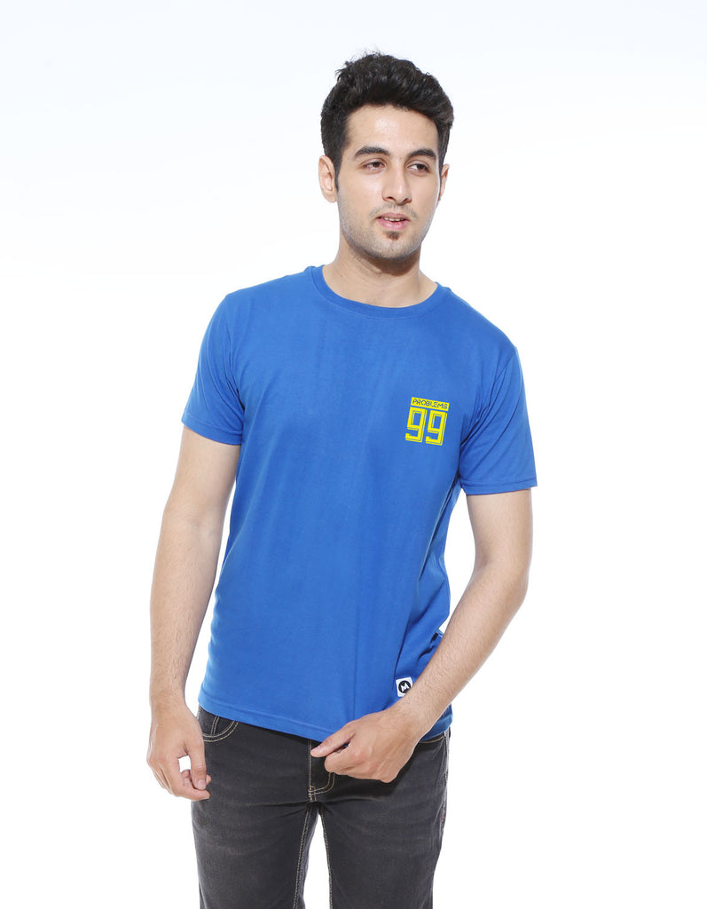 Problems 99 - Royal Blue Men's Half Sleeve Cool T Shirt Model Front View