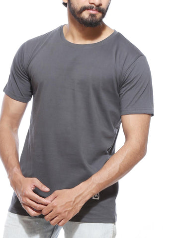 Charcoal Grey - Men's Plain Half Sleeve Casual T Shirt Model Close-up View