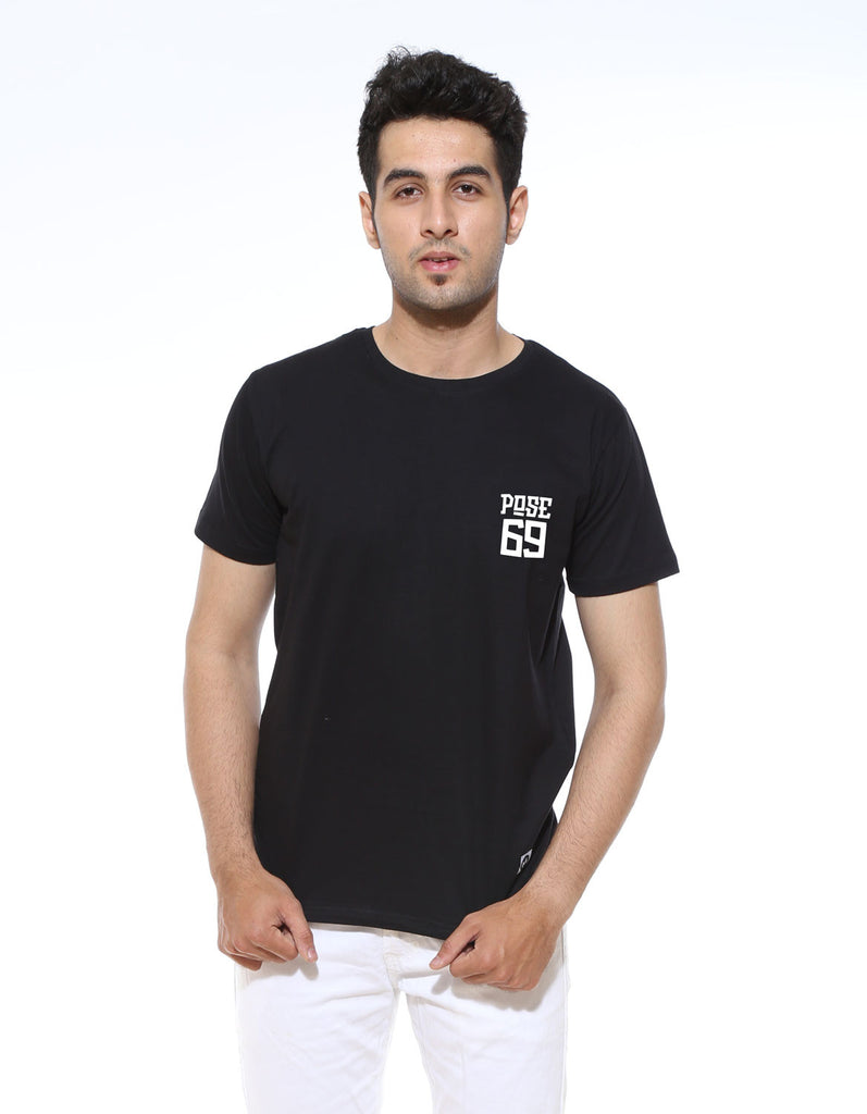 Pose 69 - Black Men's Half Sleeve Pocket Print T Shirt Model Front View