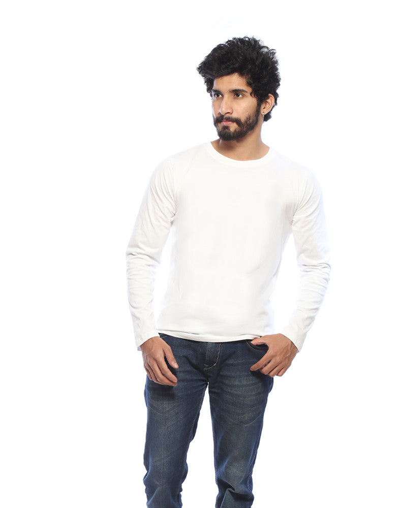 White - Men's Plain Full Sleeve T Shirt Model Front View