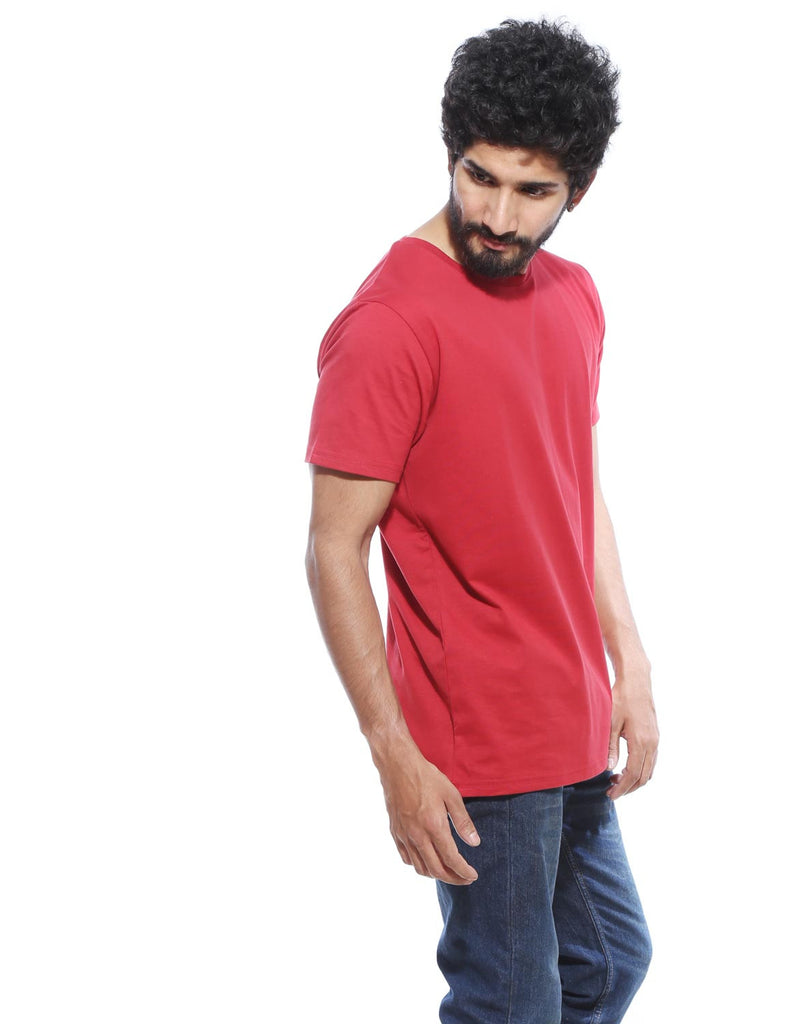 Berry Red - Men's Plain Half Sleeve Casual T Shirt Model Front View