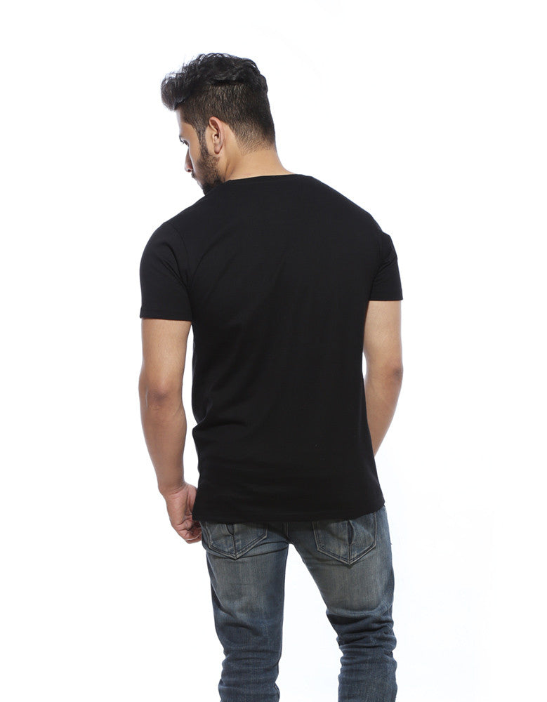 War is Coming - Black Trendy Half Sleeve Men's T shirt Model Back View
