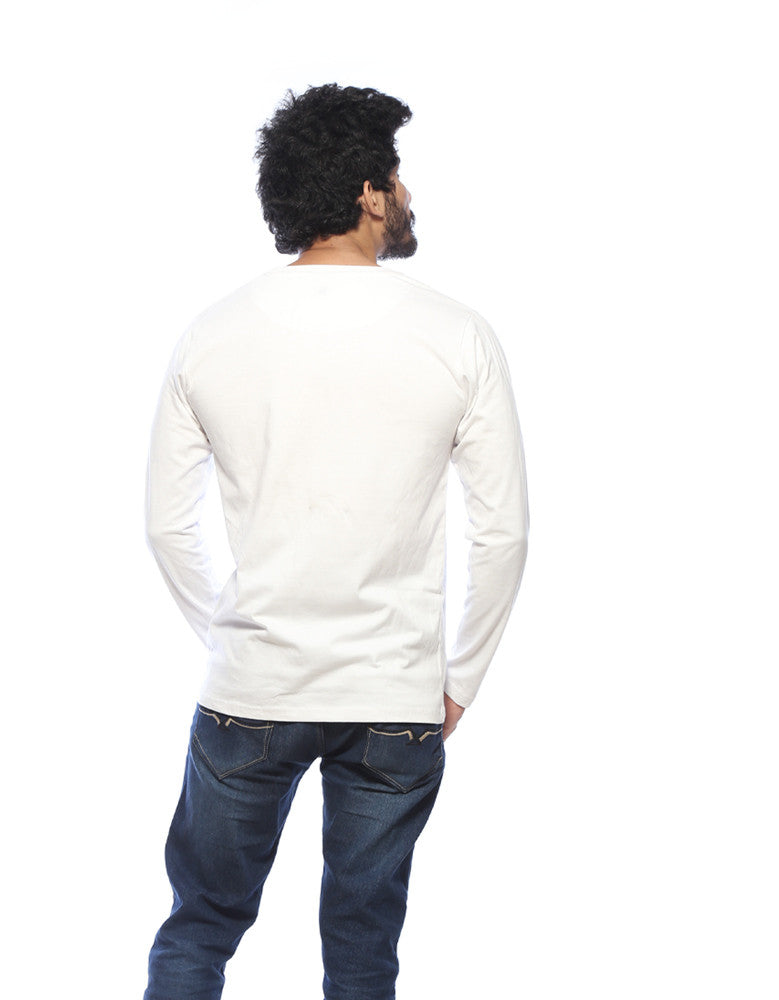 White - Men's Plain Full Sleeve T Shirt Model Back View