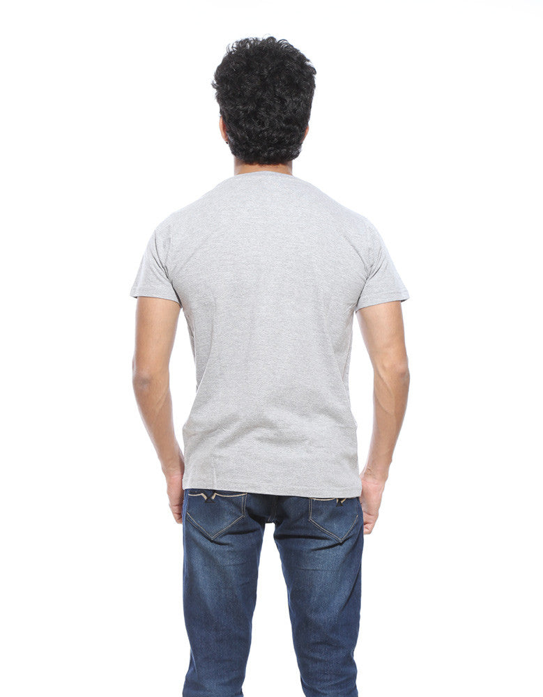 Grey Melange - Men's Plain Half Sleeve Casual T Shirt Model Back View