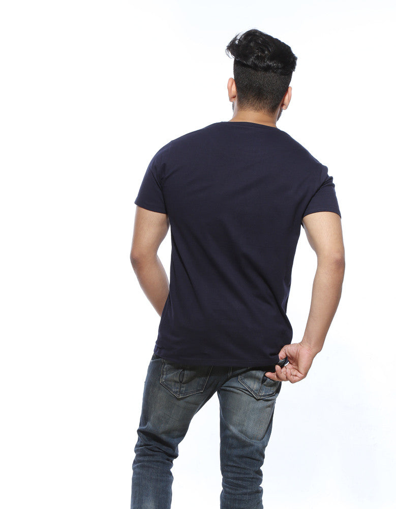 Navy Blue - Men's Plain Half Sleeve Casual T Shirt Model Back View