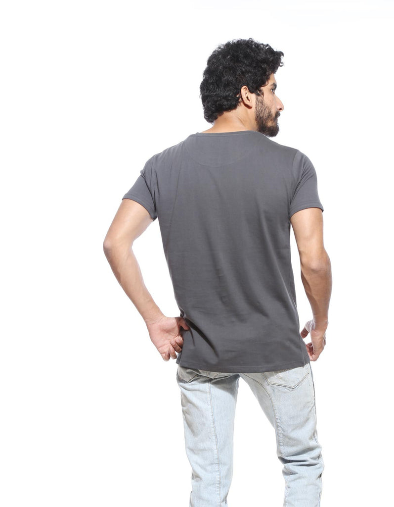 Charcoal Grey - Men's Plain Half Sleeve Casual T Shirt Model Back View