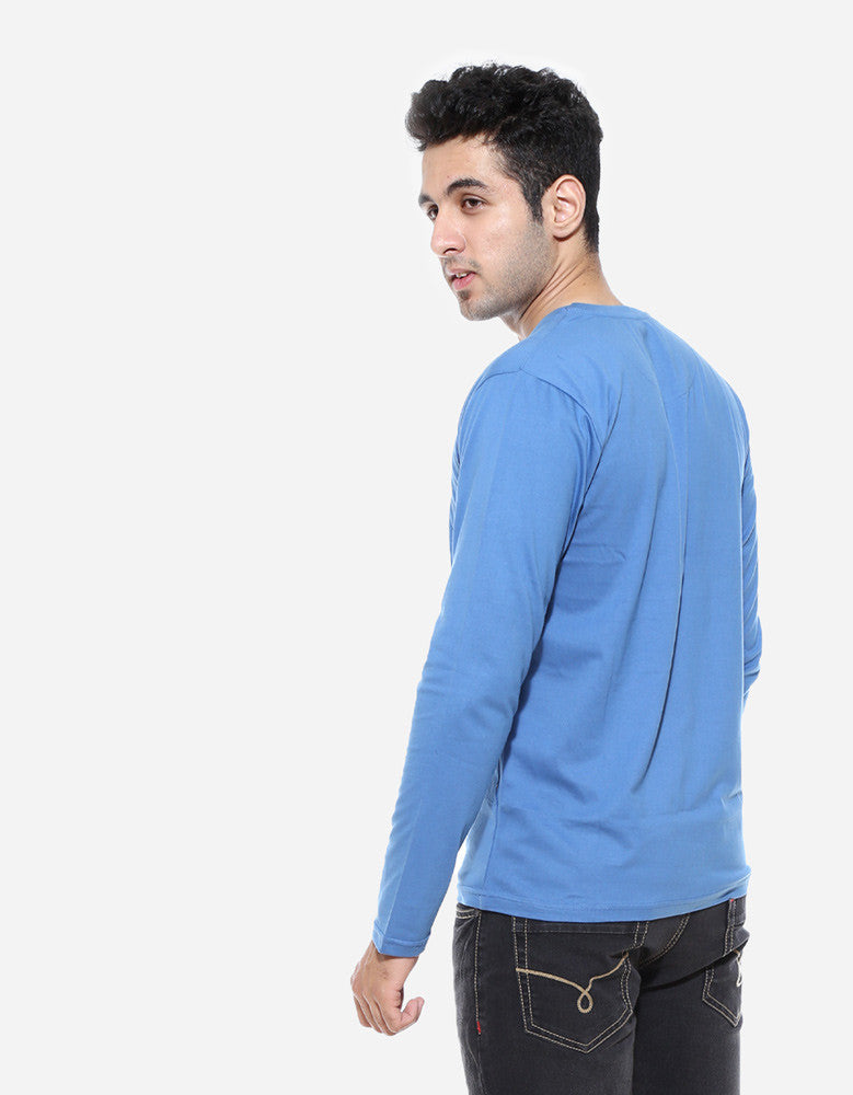 Dark Shadow Blue - Men's Plain Full Sleeve Casual T Shirt Model Back View