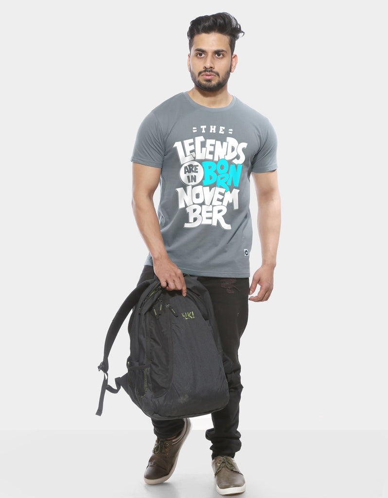Legends Are Born In November - Tower Grey Trendy Men's Half Sleeve T shirt