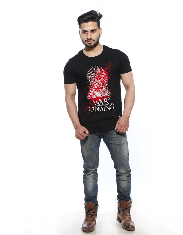 War is Coming - Black Trendy Half Sleeve Men's T shirt Model Full Front View