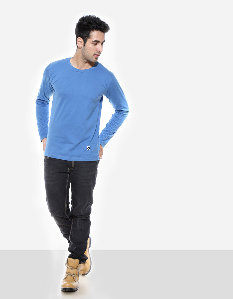 Dark Shadow Blue - Men's Plain Full Sleeve Casual T Shirt Model Full Front View