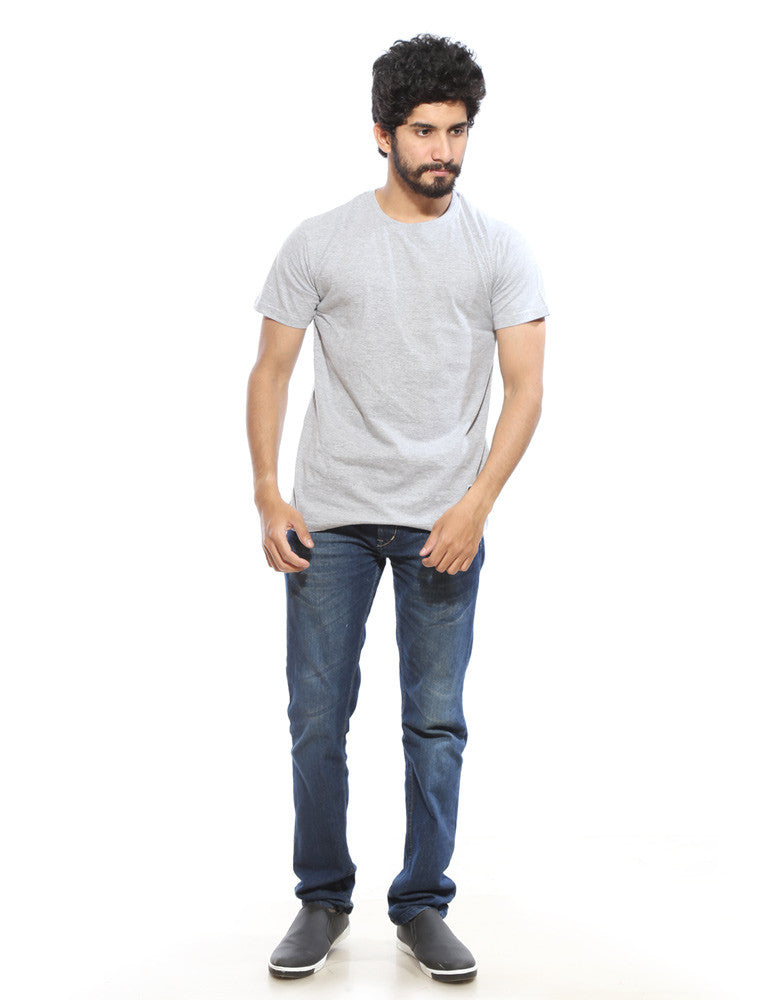 Grey Melange - Men's Plain Half Sleeve Casual T Shirt Model Full Front View