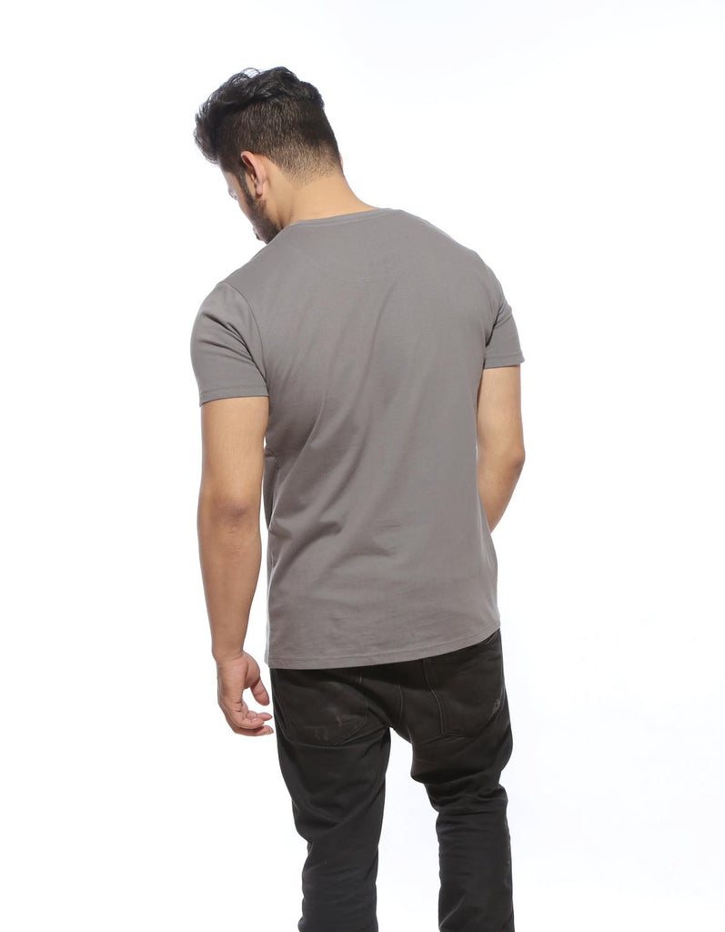 Cement Grey - Men's Plain Half Sleeve Casual T Shirt Model Back View