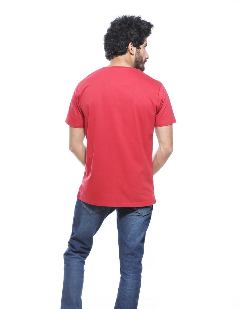 Berry Red - Men's Plain Half Sleeve Casual T Shirt Model Back View