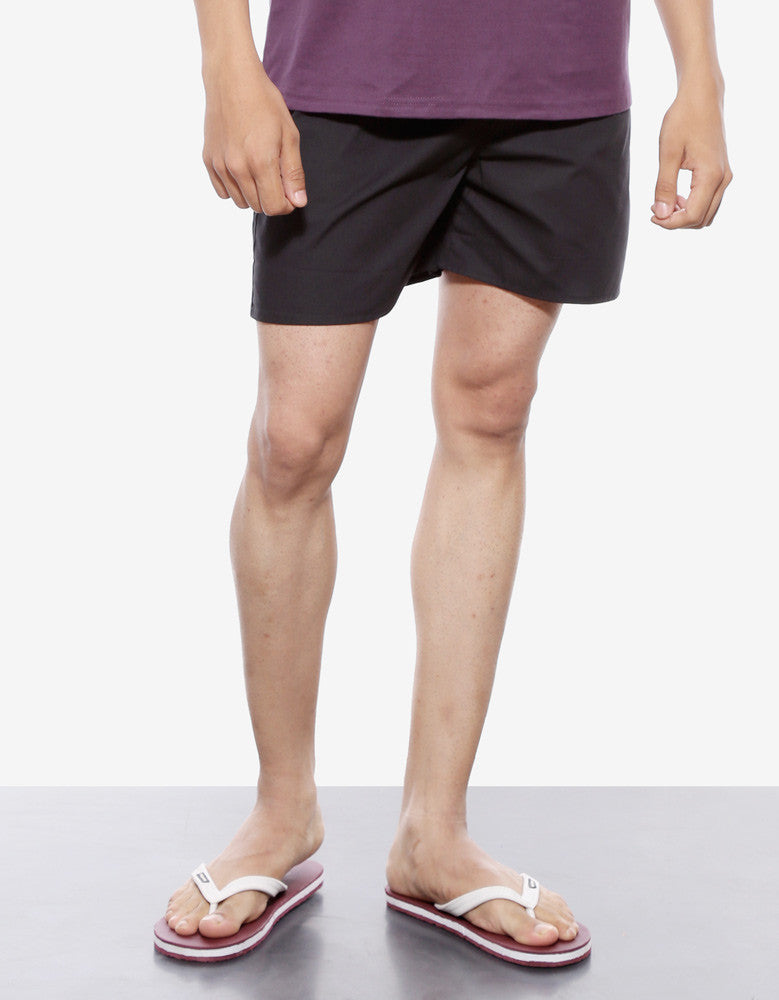 Black - Men's Plain Boxer Short Model Front Half View