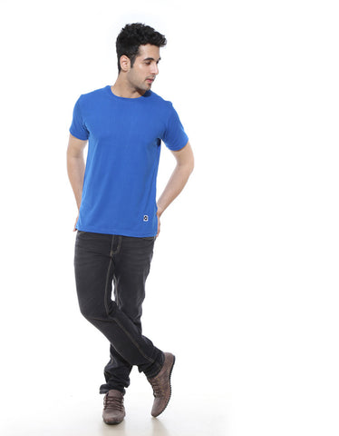 Royal Blue - Men's Plain Half Sleeve Casual T Shirt Model Full Front View