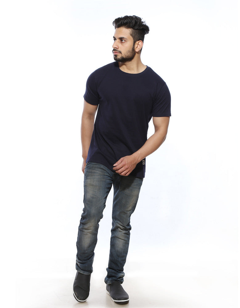 Navy Blue - Men's Plain Half Sleeve Casual T Shirt Model Full Front View