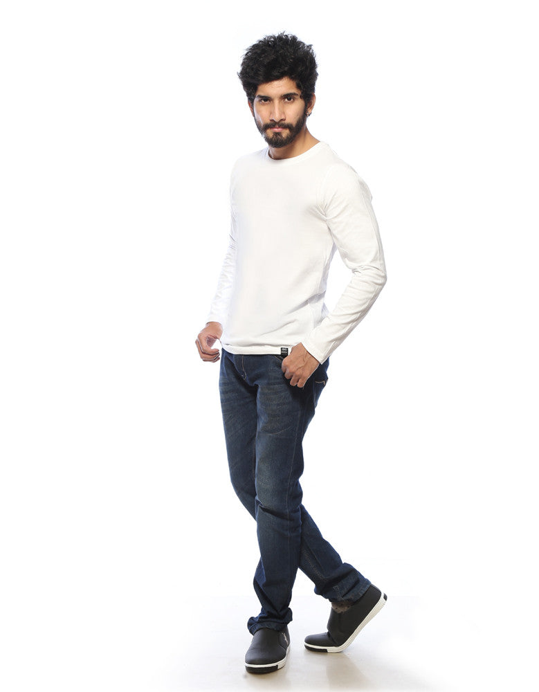 White - Men's Plain Full Sleeve T Shirt Model Full Front View