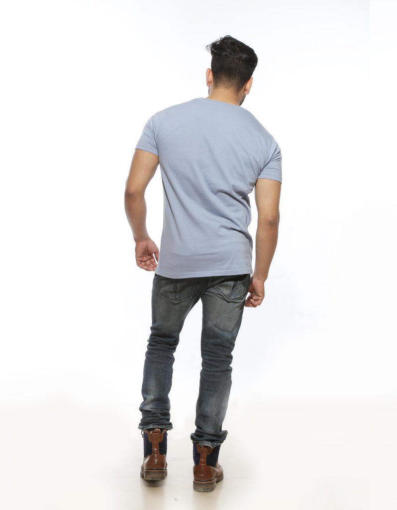 Yale Blue - Men's Plain Half Sleeve Casual T Shirt Model Full Back View