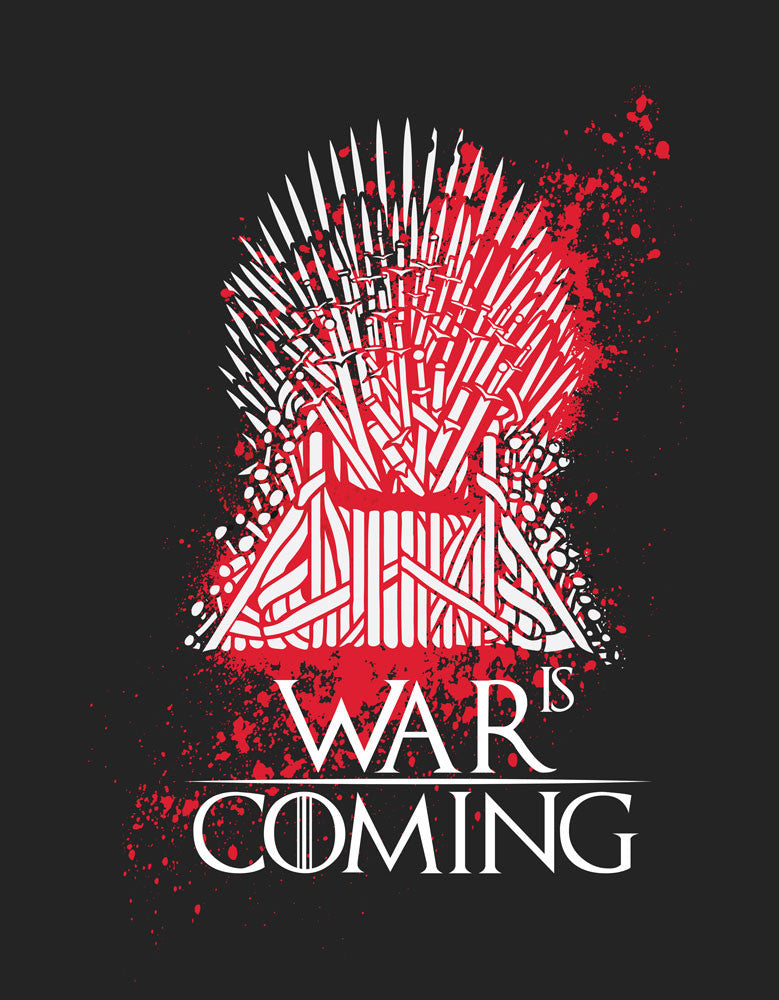 War is Coming - Black Trendy Half Sleeve Men's T shirt Design View