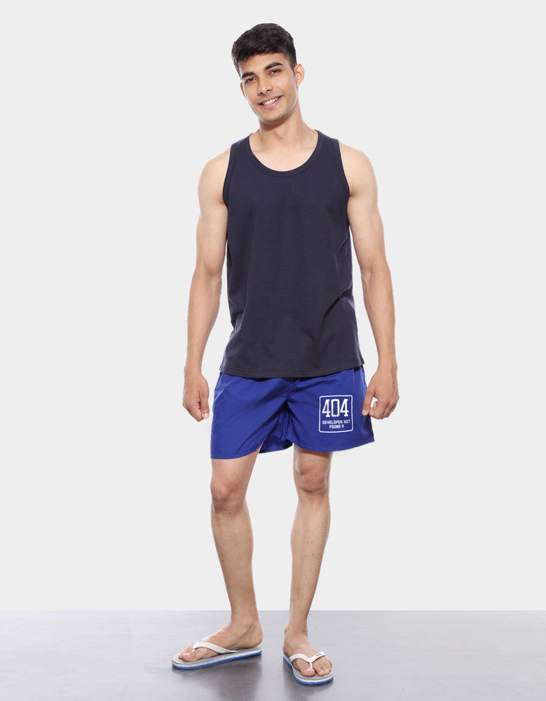 404 Not Found - Royal Blue Men's Printed Boxer Short Model Full Front View