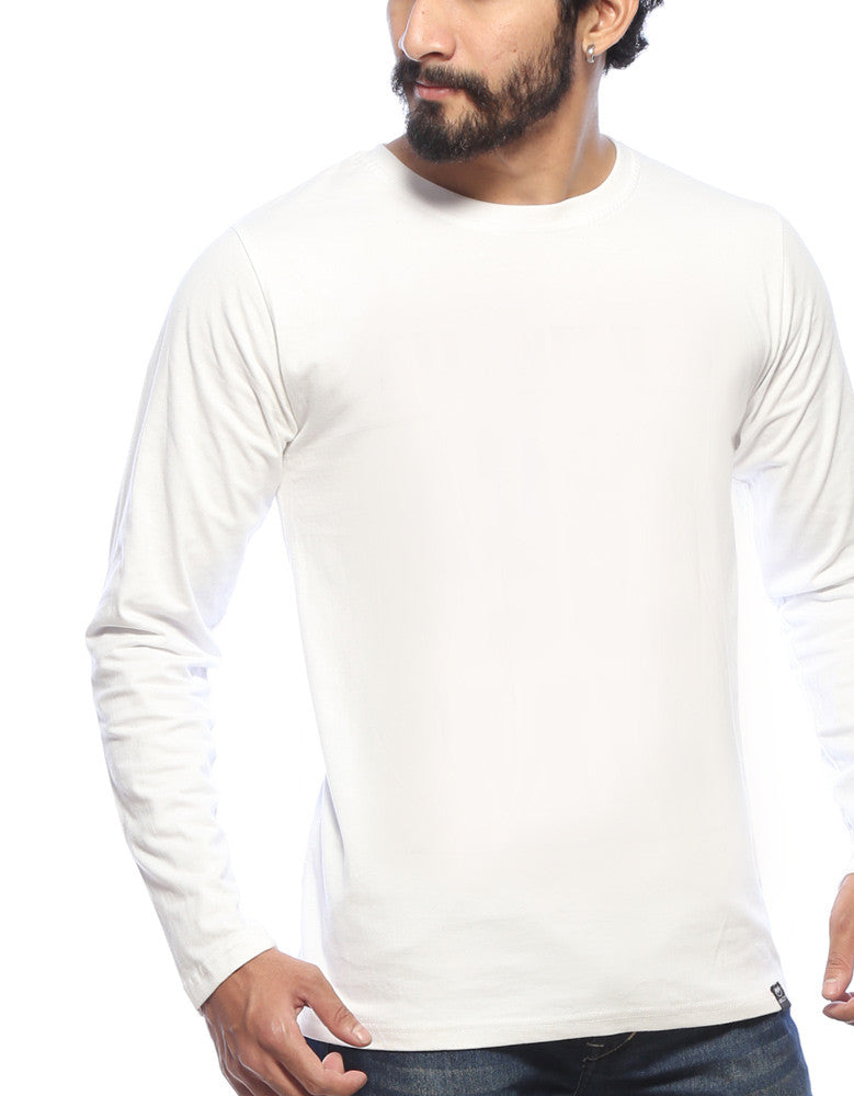 White - Men's Plain Full Sleeve T Shirt Model Close-Up view