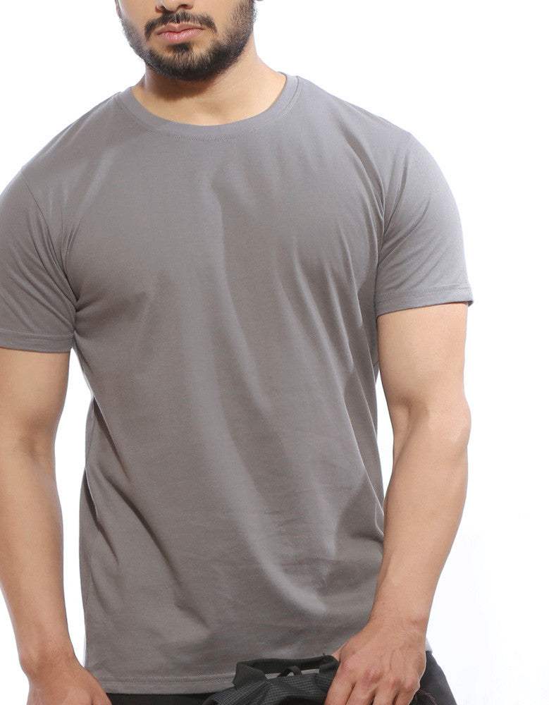 Cement Grey - Men's Plain Half Sleeve Casual T Shirt Model Front Close-Up View