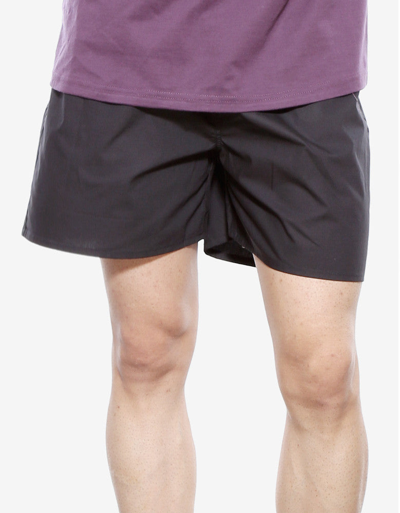 Black - Men's Plain Boxer Short Model Front View