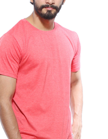 Red Melange - Men's Plain Half Sleeve Casual T Shirt Model Close-Up View