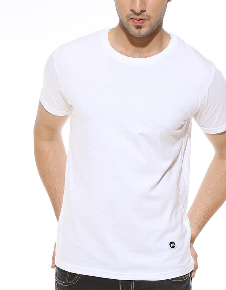 White - Men's Plain Half Sleeve Casual T Shirt Model Close-Up View