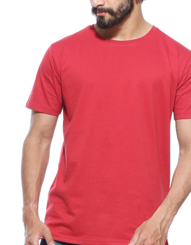 Berry Red - Men's Plain Half Sleeve Casual T Shirt Model Front Close-Up View
