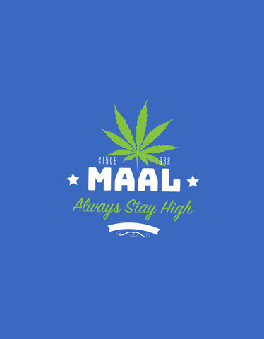 Maal - Royal Blue Men's Stoner Half Sleeve Pocket Print T Shirt Design View