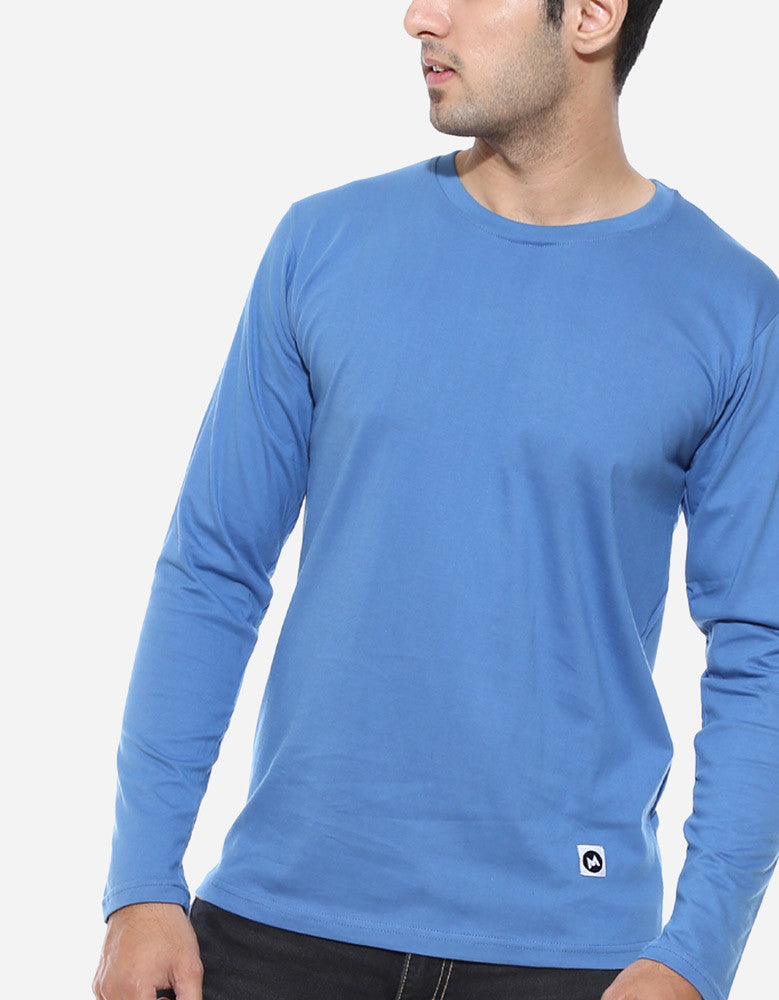 Dark Shadow Blue - Men's Plain Full Sleeve Casual T Shirt Model Front Close-Up View