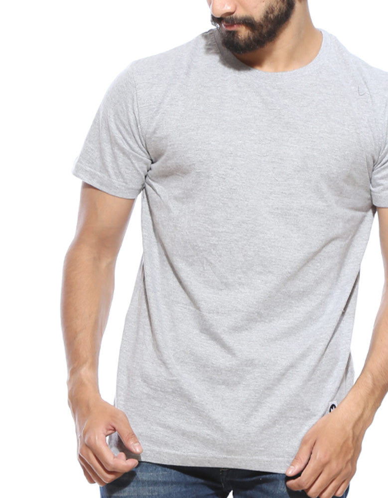 Grey Melange - Men's Plain Half Sleeve Casual T Shirt Close-Up View
