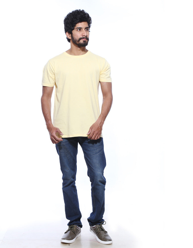 Lemon Yellow Men's Plain T-shirt
