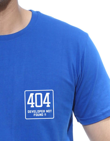 404 Not Found - Royal Blue Men's Half Sleeve Pocket Print T Shirt Design Close-Up View