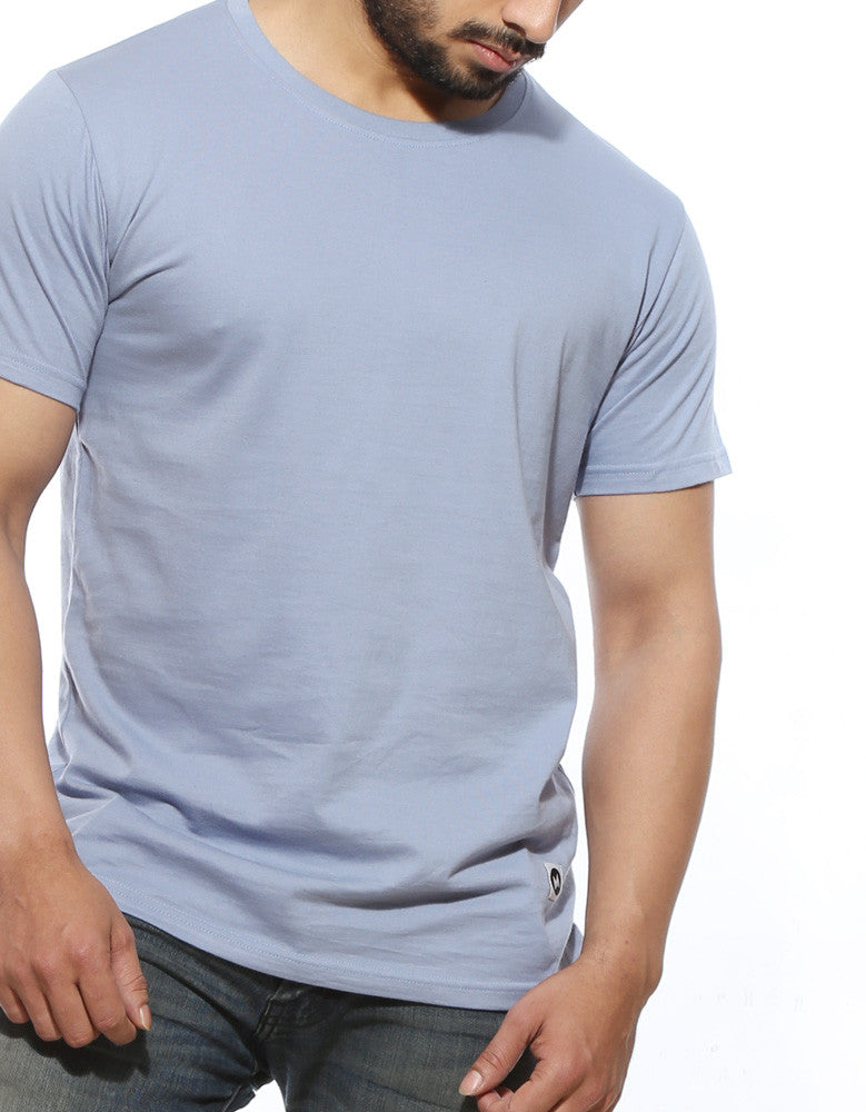 Yale Blue - Men's Plain Half Sleeve Casual T Shirt Model Front Close-Up view
