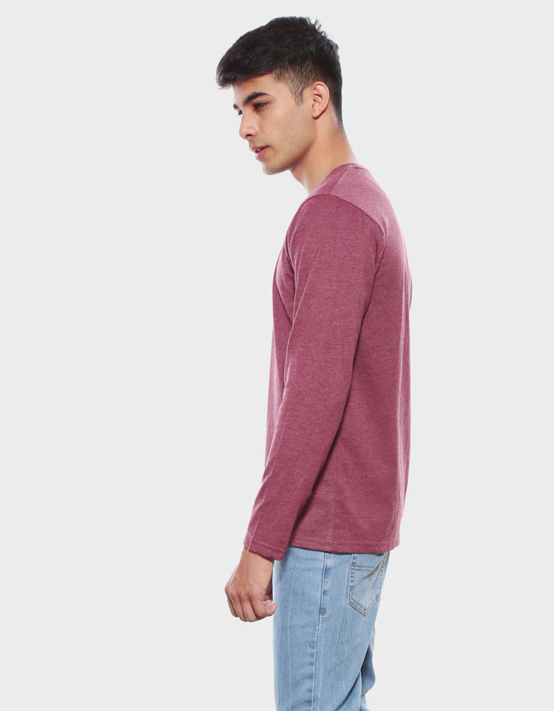 Maroon Melange Men's full sleeve t shirt View
