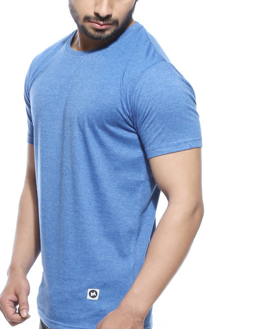 Blue Melange Men's Plain T-shirt