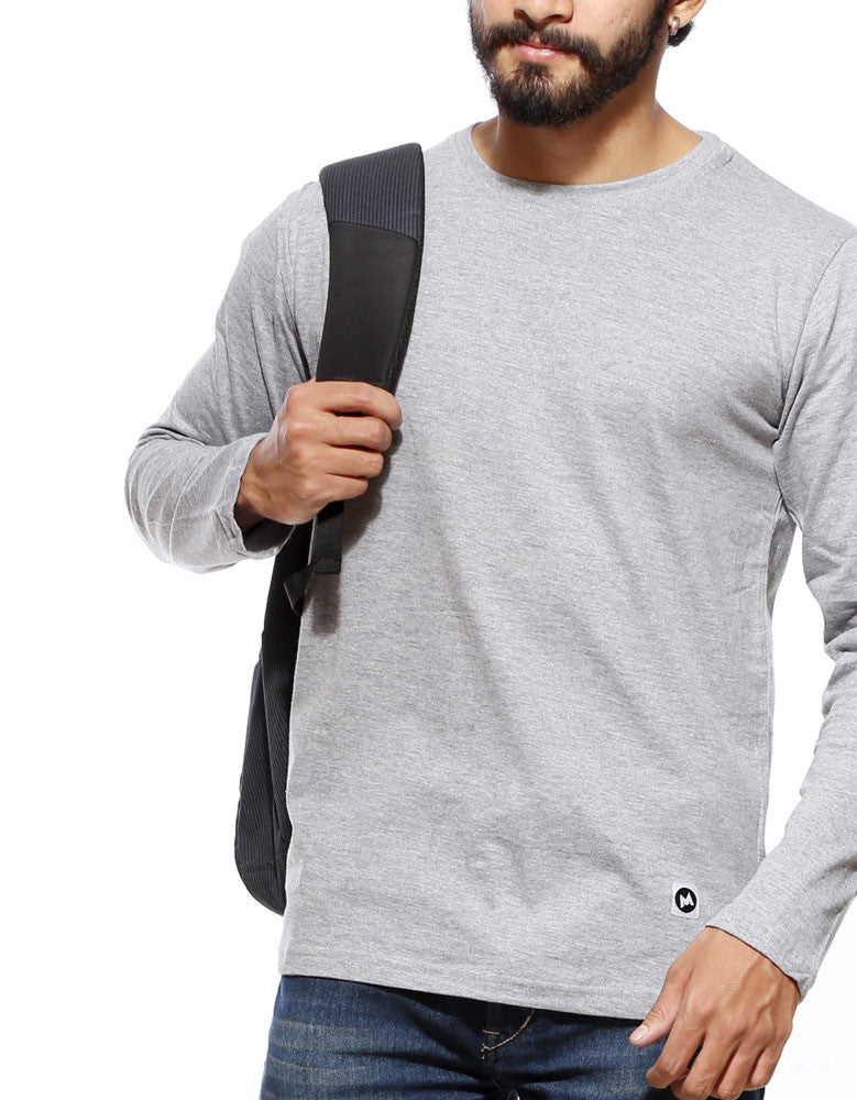 PLAIN MELANGE GREY T-SHIRT