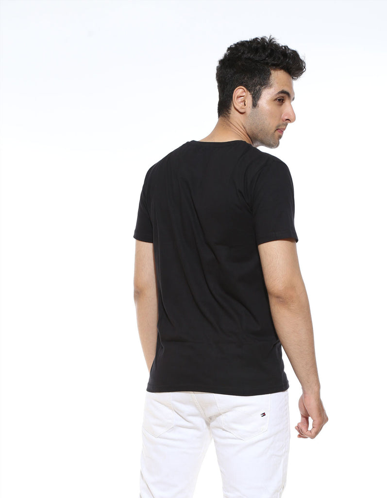 Pose 69 - Black Men's Half Sleeve Pocket Print T Shirt Model Back View